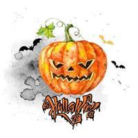 Cartão festivo em aquarela de Halloween com uma abóbora