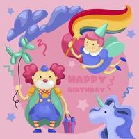 Conjunto de feliz aniversário. Fada, palhaço com balão-cachorro e unicórnio
