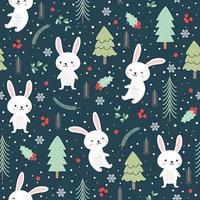 Padrão sem emenda de Natal com coelho