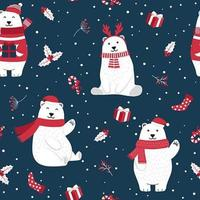 Padrão sem emenda de Natal com urso polar vetor