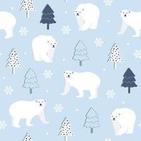 Padrão sem emenda de inverno com urso polar vetor