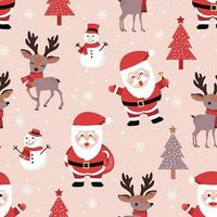 Padrão sem emenda de Natal com Papai Noel e Rena vetor