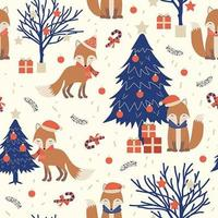 Padrão sem emenda de Natal com raposa vetor
