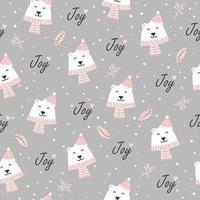 Padrão sem emenda de alegria de Natal com urso polar vetor