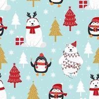 Padrão sem emenda de Natal com urso polar e pinguim vetor