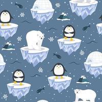 Padrão sem emenda de Natal com pinguim no bloco de gelo vetor