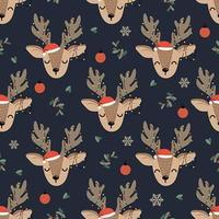 Padrão sem emenda de veado de luzes de Natal com rena