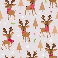 Rena de Natal com cachecol sem costura padrão vetor