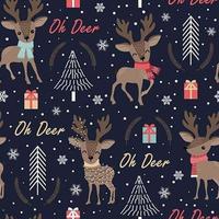 Padrão sem emenda de Natal com rena vetor