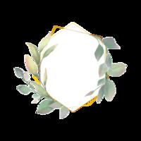 Quadro redondo de folhas em aquarela
