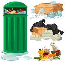 Lixeira e diferentes tipos de lixo vetor
