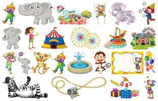 Conjunto de animais e circo vetor