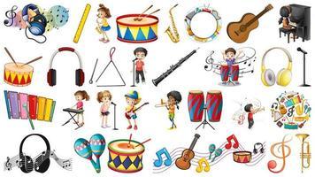 Conjunto de instrumentos musicais e elementos musicais vetor