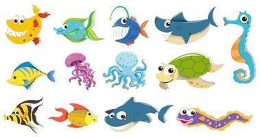 Conjunto de diferentes animais marinhos vetor