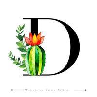 Letra do alfabeto D com cacto em aquarela e folhas vetor