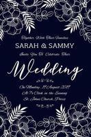 Cartão de convite de casamento floral desenhado à mão vetor