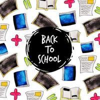 Aquarela de volta ao padrão da escola vetor