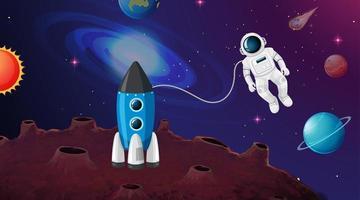 Cena de astronauta e foguete vetor