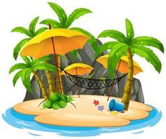 Praia da ilha com rede vetor