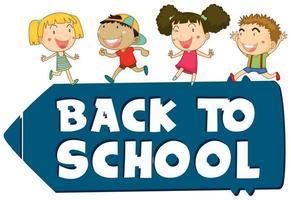 Volta para o tema de sinal de escola com crianças vetor