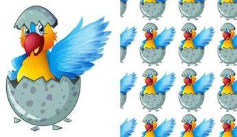 Pássaro sem costura e isolado no padrão de ovo vetor