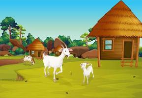 Uma fazenda com cabanas nipa vetor