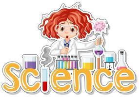 Design de adesivo com cientista fazendo experimentos e a palavra ciência vetor