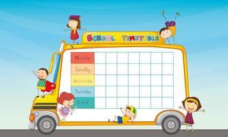 Horário escolar no ônibus escolar com crianças vetor