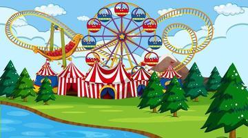 Cena do parque de diversões com rio vetor