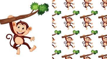 Macaco sem costura e isolado pendurado no padrão de ramificação vetor