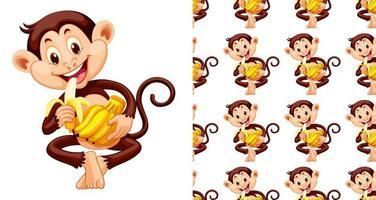 Macaco sem costura e isolado comendo banana padrão dos desenhos animados vetor