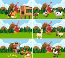 Conjunto de cenas de fazenda com animais vetor