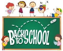 Volta para o modelo de escola com crianças doodle vetor
