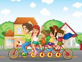 Uma família andando de bicicleta juntos vetor