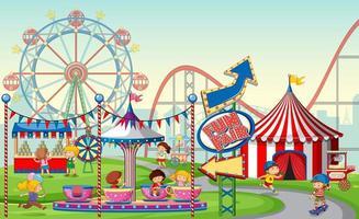 Uma cena de feira de diversões ao ar livre com crianças vetor