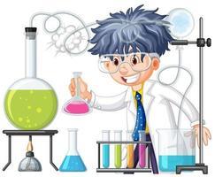 Cientista fazendo experimento no laboratório de Ciências vetor