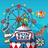 Banner de parque de diversões de carnaval colorido vetor