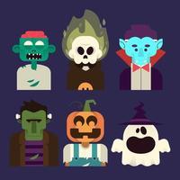 Conjunto de caracteres de Halloween vetor