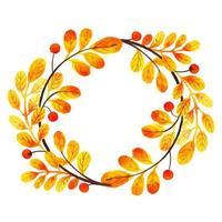 Folhas de outono em aquarela bonita vetor