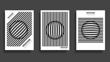 Conjunto de design de modelos de capa de esfera listrada vetor