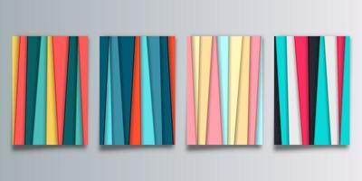 Conjunto de abstrato com listras coloridas vetor