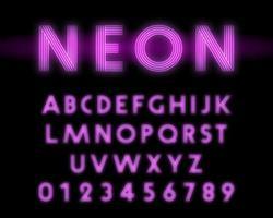 Fonte do alfabeto de néon retrô. Design de linha de letras e números vetor