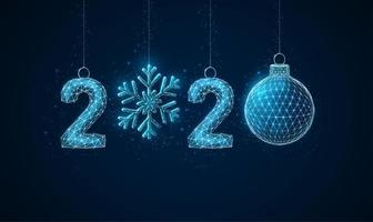 Cartão de saudação de ano novo de baixo poli 2020 vetor