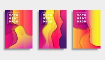 Conjunto de design de modelo de capa gradiente colorido vetor