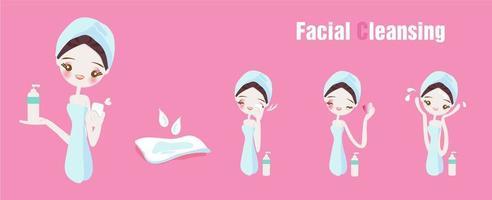Conjunto de etapas de limpeza facial vetor