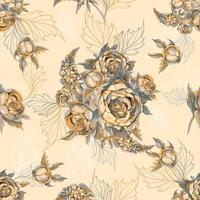 Teste padrão floral sem costura Buquê de rosas, peônias e lilases.