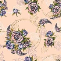 Teste padrão floral sem costura Buquê de rosas, peônias e lilases. Vetor.