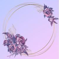 Moldura redonda de ouro com um buquê de flores em aquarela