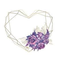 Moldura de cartão em forma de coração com um buquê de flores.