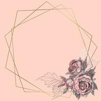 Moldura geométrica ouro com um buquê de flores.
